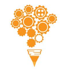 Conceptual idea lightbulb composed by gear pieces vector