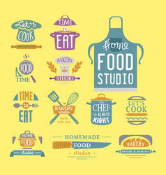 Cooking badge motivation text vector