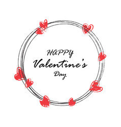 creative hand draw happy valentines day postcard vector image