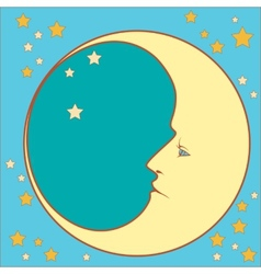 crescent moon profile vector image