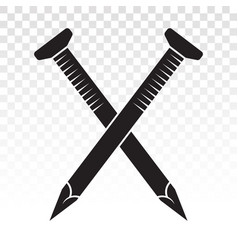 Crossed wood fasteners nails concrete nail flat vector