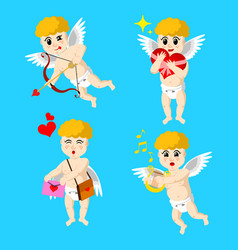cupid drawn in four roles vector image