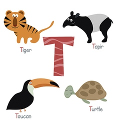 Cute zoo alphabet vector