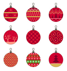 Different designs christmas baubles ornaments vector