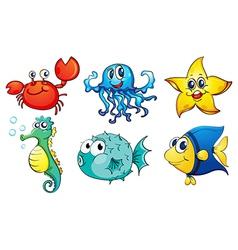 Different sea creatures vector