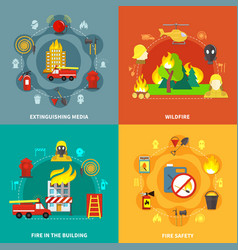 firefighting 2x2 concept vector image