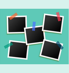 five photo frames sticked tape background vector image