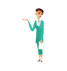 flat woman doctor in medical clothing vector image