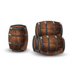four wooden barrels for wine or other drinks vector image