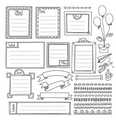 Frames with weekdays for bullet journal vector