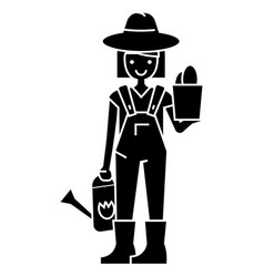 gardener woman with plant and watering can icon vector image