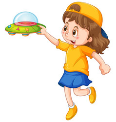 Girl holding ufo toy vector