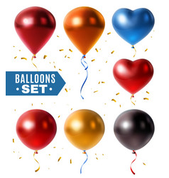 glossy balloons and golden confetti set vector image