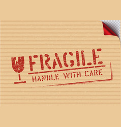 grunge fragile sign stamp on carton box for vector image