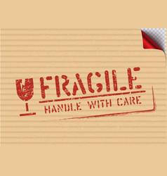 grunge fragile sign stamp on carton box vector image