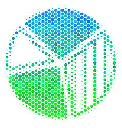 halftone blue-green pie chart icon vector image