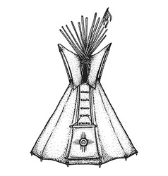 Hand drawn indian tipi vintage vector