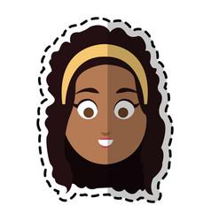 Happy dark skin young pretty woman cartoon icon vector