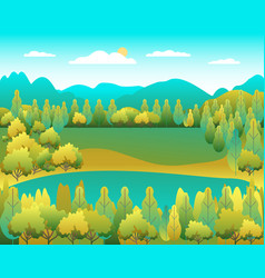 hills landscape in flat style design valley vector image