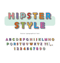 hipster style font design comic pop art colorful vector image