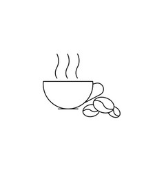 Hot cofee beans line icon vector