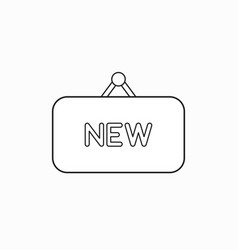 Icon concept new word written on hanging sign vector