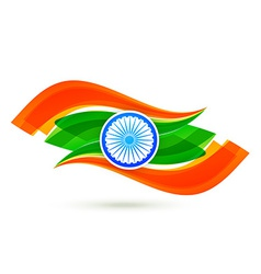 indian flag design with wave style in tricolor vector image
