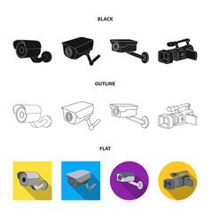 Isolated object camcorder and camera sign set vector