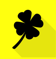leaf clover sign black icon with flat style vector image