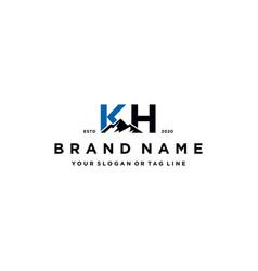 Letter kh mountain logo design vector