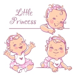 Little baby girl set vector