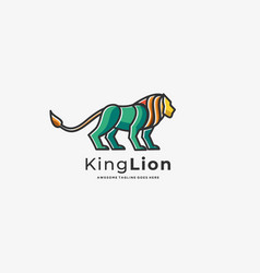 logo king lion line art vector image