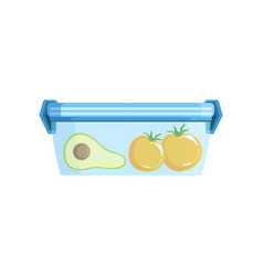 Lunch box with avocato and tomatoes healthy food vector