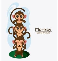 Monkey set cartoon animal design vector