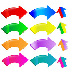multicolored arrow and ribbon set on white vector image
