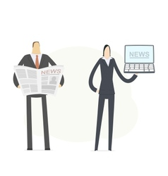 News in paper and on computer vector