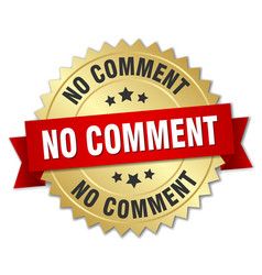No comment round isolated gold badge vector
