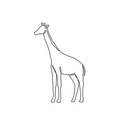 One continuous line drawing cute giraffe vector