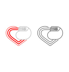 pacemaker outline icon - heart and cardio implant vector image