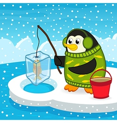 penguin on fishing vector image