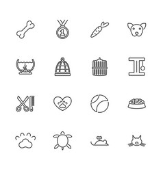 Pet- flat line icons vector