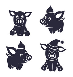 pigs silhouette little vector image