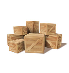 pile stacked sealed goods wooden boxes vector image