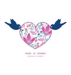 Pink flowers birds holding heart silhouette frame vector
