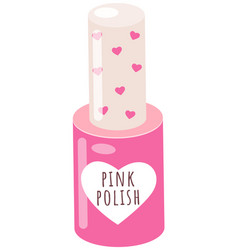 pink nail polish isolated on white closed bottle vector image