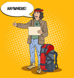 Pop art hitchhiking man travel with backpack vector
