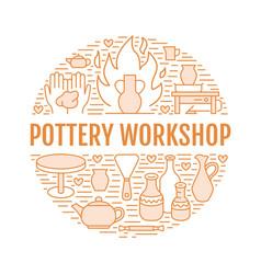 Pottery workshop ceramics classes banner vector