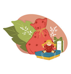 presents for children on new year and xmas vector image