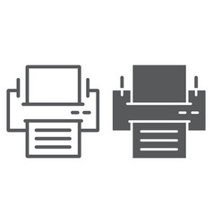 printer line and glyph icon office and work vector image
