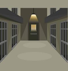 Prison cell corridor in dark scene concept vector